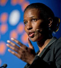 Aayan Hirsi Ali with microphone address audience